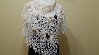 getlinkyoutube.com-Chal con Flores Crochet parte 1 de 2