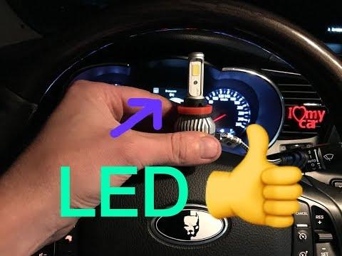 Светодиодные LED лампы в противотуманные фары автомобиля, ремонт авто.