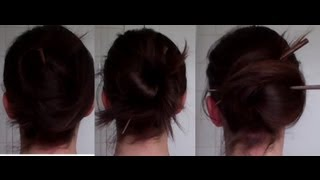 getlinkyoutube.com-9 quick, EASY & PRETTY CHOPSTICK updos hairstyle (howto tutorial) - Vintagious