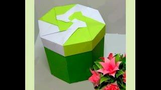 getlinkyoutube.com-Beautiful Gift Box - origami (non modular). Easy tutorial. Hexagonal  box. Подарочная коробочка