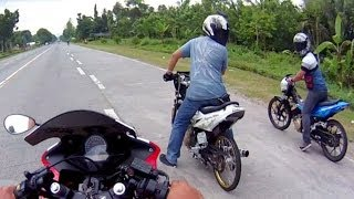 getlinkyoutube.com-Drag Race Honda CBR 150 vs Suzuki RAIDER Belang SATRIA FU 150