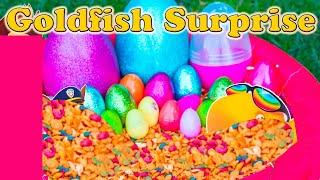 getlinkyoutube.com-GOLDFISH Surprise Eggs Worlds Largest Goldfish Paw Patrol + Blaze + Peppa Surprise Eggs Toys Video
