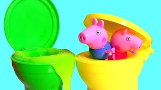 getlinkyoutube.com-Funny Toilet Fart Putty Toys with Nickelodeon Peppa Pig and George Pig Funny Prank Pedos