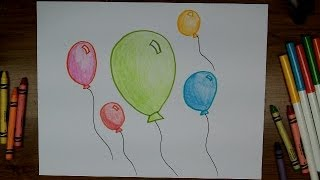 getlinkyoutube.com-How To Draw Balloons - Very Easy Beginner Drawing Lesson for Kids