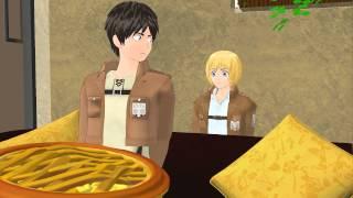 "getlinkyoutube.com-MMD SNK ""Mikasa Bakes Eren a Giant Pie"" (Cool Whip meme) Attack on Titan funny meme animation"