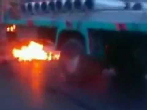 MQM Altaf Hussian Target Killers Burn Karachi's Pashtuns Transport in Mohajir Area