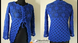 getlinkyoutube.com-How to crochet jacket free tutorial pattern all sizes