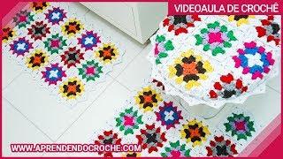 getlinkyoutube.com-Jogo Banheiro Crochê Squares - Tapete Pia - Aprendendo Crochê