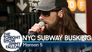 Maroon-5-Busks-in-NYC-Subway-in-Disguise width=