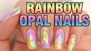 getlinkyoutube.com-Rainbow Opal Nails | The shattered glass nails technique
