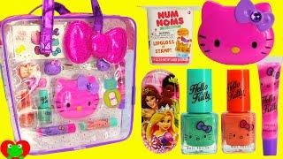 getlinkyoutube.com-Hello Kitty Lip Gloss Nail Polish Num Nom Lip Balms and Surprises