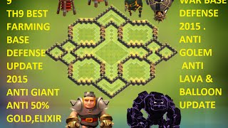 getlinkyoutube.com-Clash of Clans - Th9 farming base 2015 best town hall 9 replay Anti giant anti gowipe update