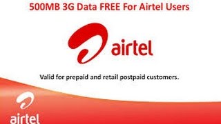 500 MB Free 3G DATA recharge from Airtel