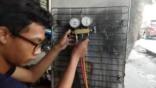 Cara mengisi freon kulkas memakai gas elpiji (JANGAN DI TIRU)