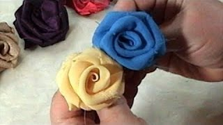 getlinkyoutube.com-DIY, How to make Fabric Flowers Roses, Tutorial, DIY