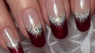 getlinkyoutube.com-Classic Red Christmas Nails / Xmas Nail Art Design (tutorial for long nails)
