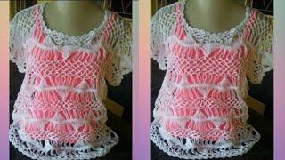 getlinkyoutube.com-Blusa branca em ponto ondas parte 1!!!
