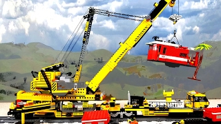 Big Lego railway crane lifting locomotive after a heavy storm