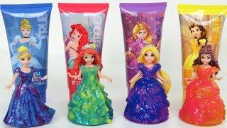 getlinkyoutube.com-Disney Princess Bath Paints Activity Set and Glitter Glider Magiclip Dolls | Paint Surprise Toys