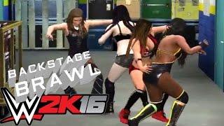 Divas Fatal 4 way - BACKSTAGE BRAWL WWE 2K16