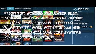 (Hindi) PPSSPP(PSP) Windows Emulator Best Setting For Any PC Latest(2016)