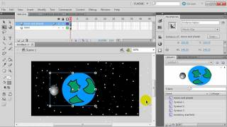 getlinkyoutube.com-Flash Animation with Symbols: Planet with Orbiting Moon and Twinkling Stars