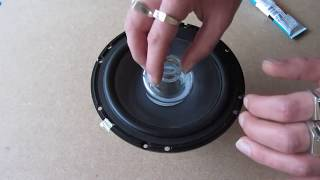 """getlinkyoutube.com-DIY How to repair refoam a speaker woofer rubber edge kit 6.5"""" JBL"""
