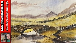 getlinkyoutube.com-How to paint a simple bridge in watercolour using the big brush