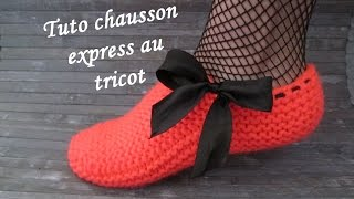 CHAUSSON FEMME EXPRESS AU TRICOT Slippers knitting ZAPATILLAS PANTUFLAS TEJIDOS DOS AGUJAS