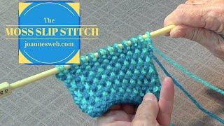 getlinkyoutube.com-Moss Slip Stitch   Knitting Stitches