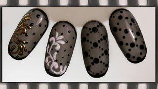 getlinkyoutube.com-Дизайн ногтей колготки гель-лаком -  4 идеи. Маникюр черная вуаль