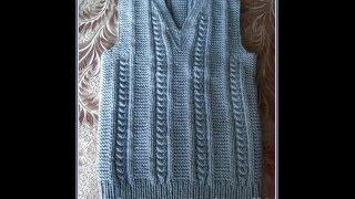 getlinkyoutube.com-Жилет спицами. Vest knitting