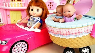 Baby doll basket car picnic play and baby Doli candy house play