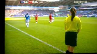 Cardiff city player knocks over female linesman!!