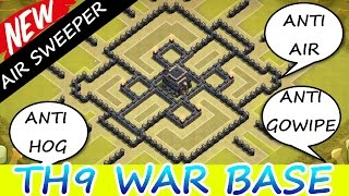 Clash Of Clans | INCREDIBLE TH9 WAR BASE | AIR SWEEPER UPDATE 2015 | Town Hall 9 Base Build