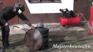 getlinkyoutube.com-Drugi test piaskarki domowej roboty 50l - Sandblasting DIY