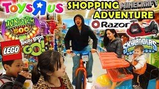 getlinkyoutube.com-TOYS R US Family Shopping Adventure: Razor Crazy Cart + Monster 500, Angry Birds Go, Minecraft & Mor