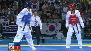 getlinkyoutube.com-Olympic Games Athens 2004 Taekwondo Greece vs korea +80kg final K.O
