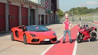 getlinkyoutube.com-Dovizioso - Lamborghini Aventador - Ducati 1199 Panigale R - Automoto.it