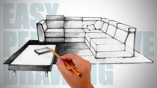 getlinkyoutube.com-How to draw furniture  - Easy Perspective Drawing 12