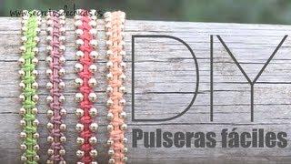 getlinkyoutube.com-DIY: Pulseras con nudos planos y bolas