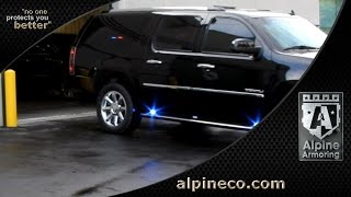 Alpine Armoring Armored GMC Yukon Denali XL with upgraded Red Blue LED Lights and PA System