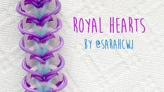 getlinkyoutube.com-Rainbow Loom Bands Royal Hearts Bracelet by @SarahCJW