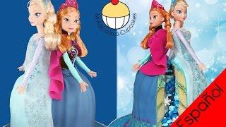 getlinkyoutube.com-¡Torta Piñata de las Hermanas de FROZEN! La Reina Elsa y la Princesa Ana juntas en la MISMA TORTA