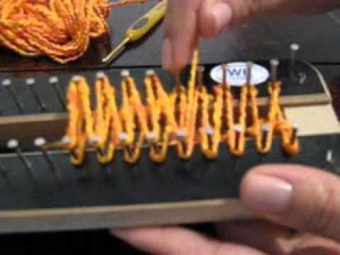 Ponto Escama no tear de pregos (ou tear de tricô)