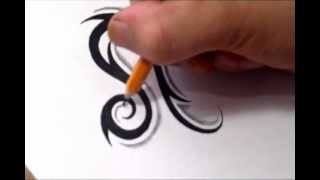 getlinkyoutube.com-Leo Tattoos - How To Draw a Simple Tribal Star Sign