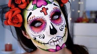 getlinkyoutube.com-Catrina, Calavera mexicana Maquillaje Día Muertos / Sugar Skull Glitter Mexico Halloween Makeup