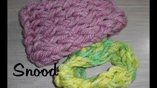 getlinkyoutube.com-Tricoter avec les bras une écharpe tube/ snood pour adulte ou/et pour enfant facile et rapide