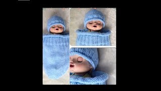 getlinkyoutube.com-Knitted Baby Cocoon & Hat Set Pattern #2 by ThePatterfamily