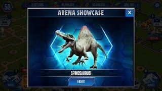 getlinkyoutube.com-Jurassic World The Game - ARENA SHOWCASE - SPINOSAURUS